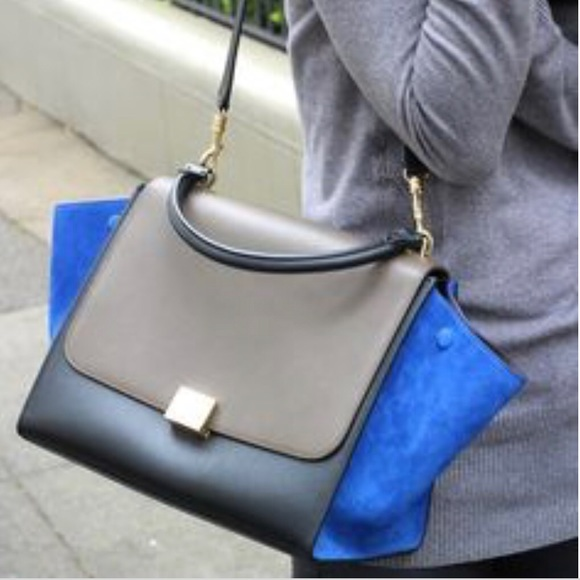 Celine Handbags - Celine Tricolor Blue Suede Trapeze Bag. 💙
